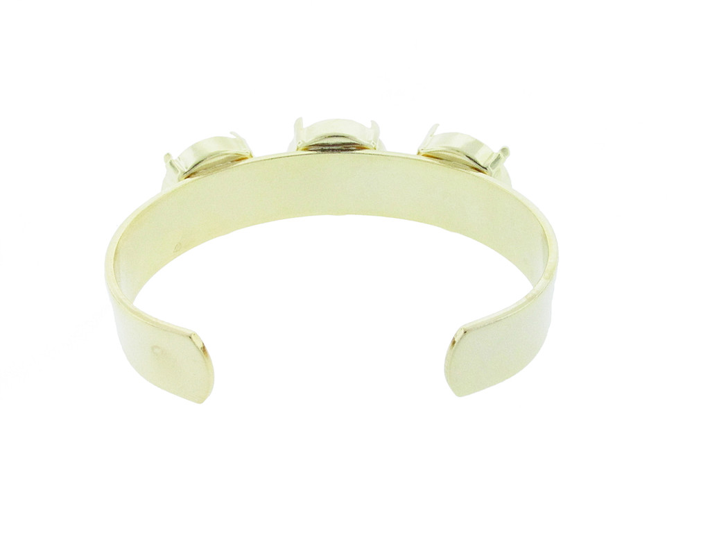 18mm Rivoli Round 3 Box Empty Cuff Bracelet in Gold Overlay view 2