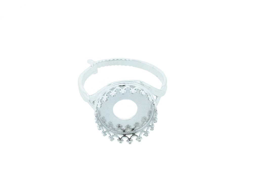 12mm Rivoli Round Crown Open Back Adjustable Ring In Rhodium