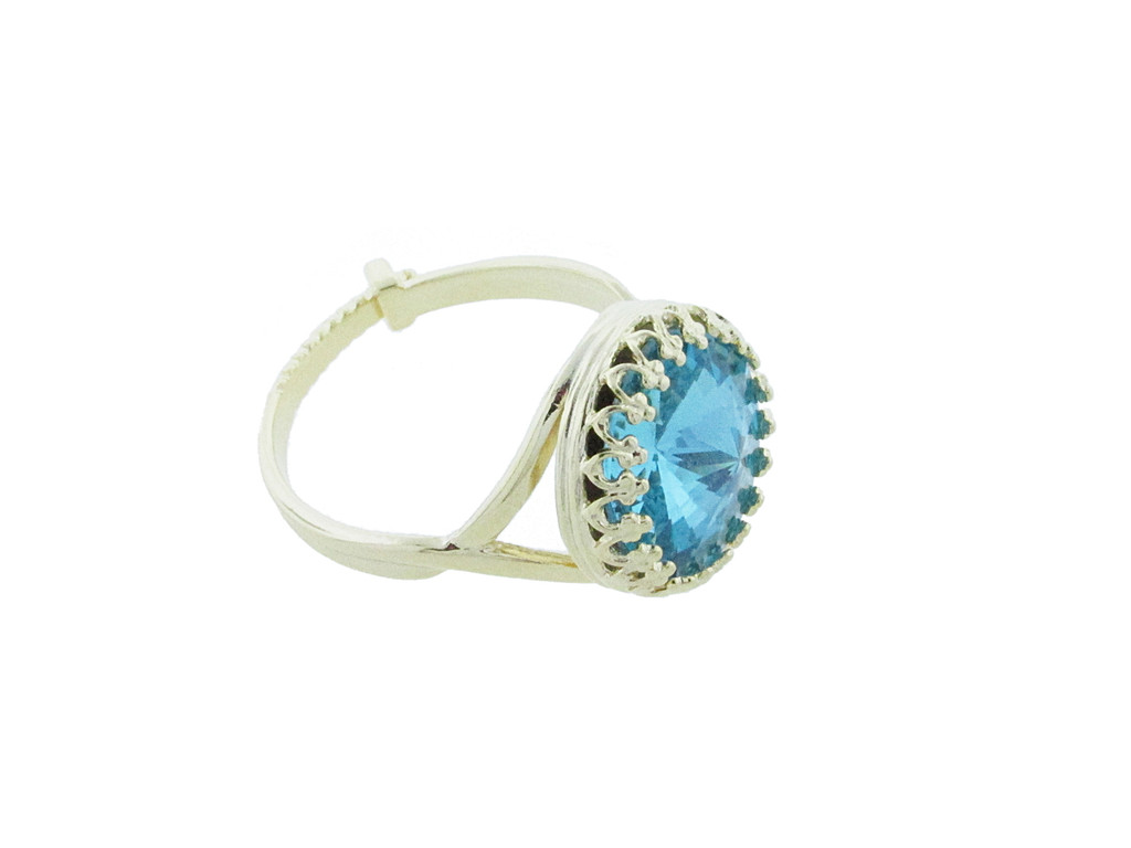 12mm Rivoli Round Crown Open Back Adjustable Ring In Gold Overlay With Light Turquoise