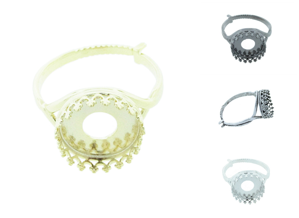 12mm Rivoli Round Crown Open Back Adjustable Ring