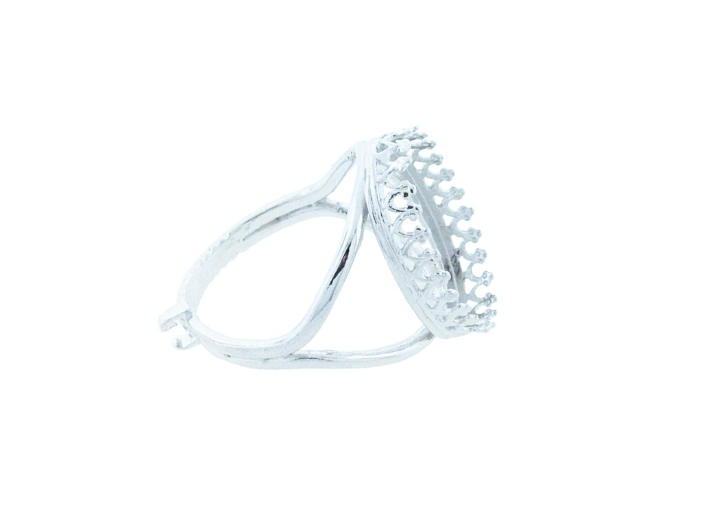 18mm x 13mm Oval Crown Open Back Adjustable Ring In Silver Overlay