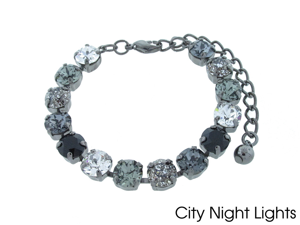 City Night Lights color collection shown on the 8.5mm 14 box bracelet in hematite