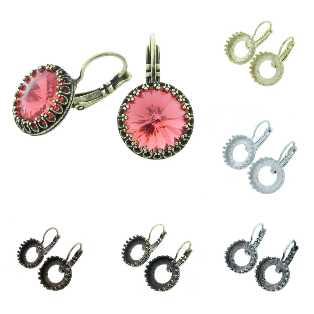 12mm Round Crown Drop Earring