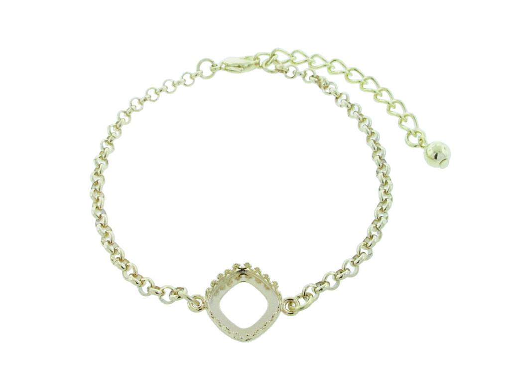 12mm Square Cushion Cut Crown Open Back Single Setting Bracelet