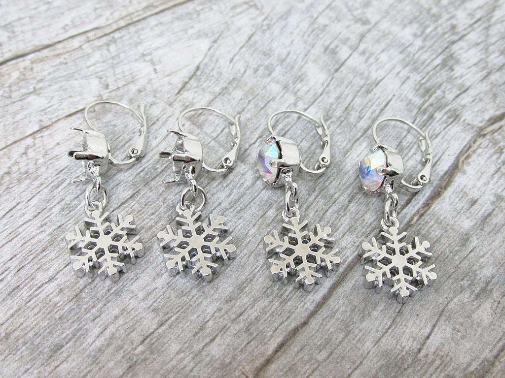 8.5mm | Snowflake Drop Earrings | One Pair