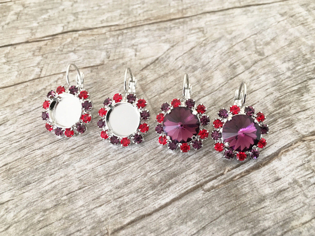 12mm Round | Red & Purple Crystal Halo Earrings | One Pair - Limited Edition