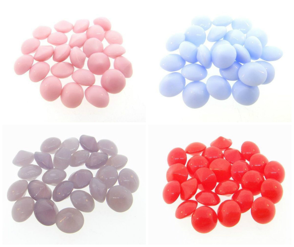 8.5mm   Vintage Glass Buff Top Chatons   24 Pieces