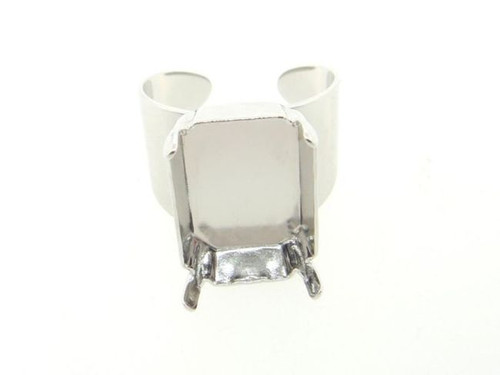 Adjustable Ring Shank Bases With Empty 18x13mm Octagon Setting Rhodium