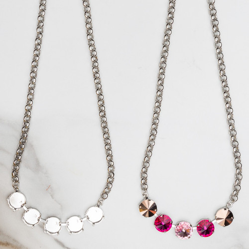 12mm Round   Five Setting Necklace   Three Pieces