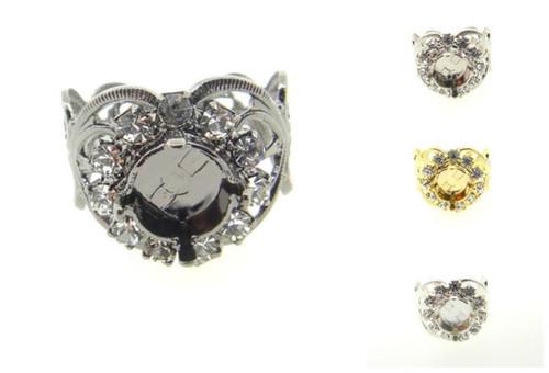 Filigree Ring With Empty 8.5mm (39ss) Setting & Crystal Rhinestones