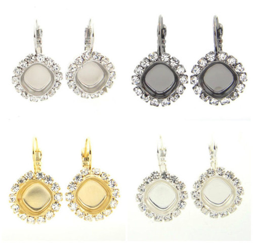 10mm Square Crystal Halo Earring