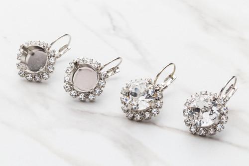 11mm | Crystal Halo Drop Earrings | One Pair