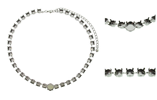 Empty Special Design Necklaces Style 1 - 8.5mm & 12mm Square Cushion Cut 3 Pieces