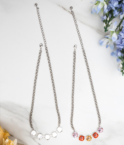 12mm Square | Five Setting Necklace | Three Pieces