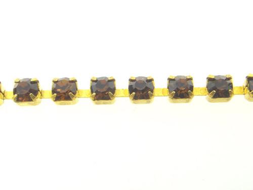 Chestnut Rhinestone Crystal Chain 3mm 10 Feet - Choose Finish