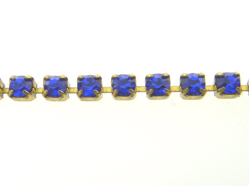 Cobalt Blue Rhinestone Crystal Chain 2.5mm 10 Feet - Choose Finish