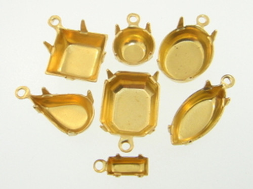 Brass One Ring Settings 36 Pieces - Choose Size & Shape