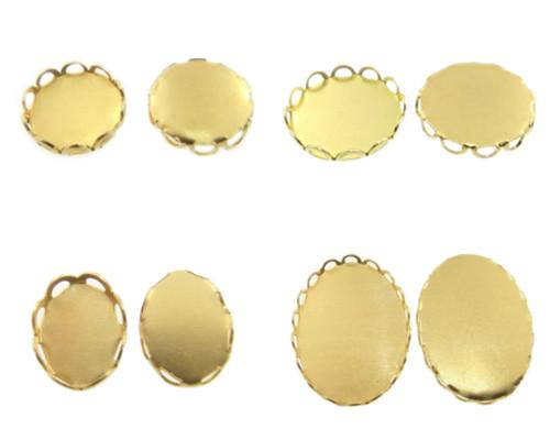 Brass Lace Edge Settings 36 Pieces - Choose Size & Shape