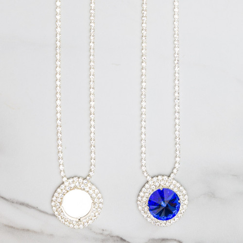 18mm Round   Crystal Halo Pendant Necklace   One Piece