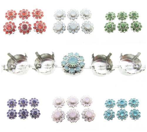 11mm | Austrian Crystal Daisy Filigree Elements | Six Pieces