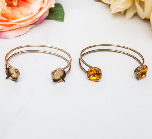 14mm Round | Two Setting Cuff Bracelet | Three Pieces