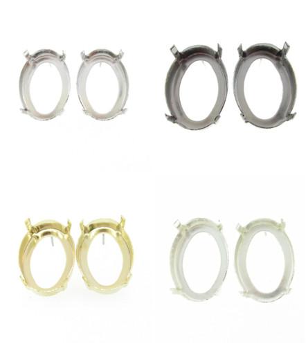 25mm x 18mm Oval Open Back Stud Earrings