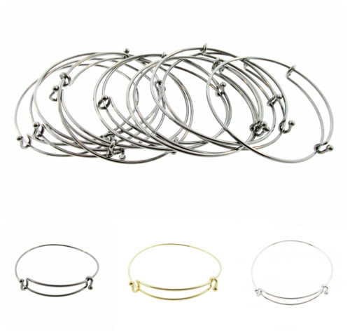 Expandable Bangle Bracelets | Add Your Own Charms | 12 Pieces