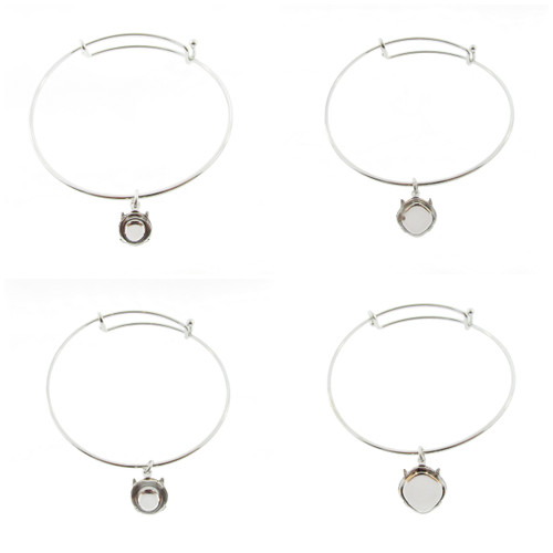 1.5mm Expandable Bracelets With Empty Setting Rhodium 3 Pieces - 4 Empty Setting Choices