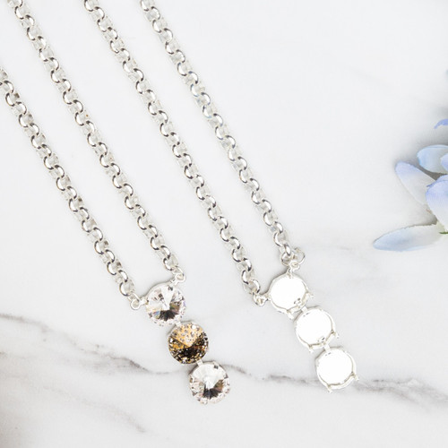 12mm Round   Three Setting Drop Necklace   Three Pieces