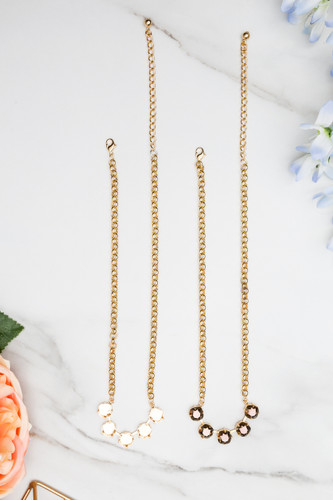 10mm Square | Classic Five Setting Necklace | Three Pieces