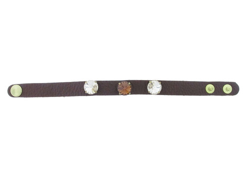 The Branded Leather Line - Classic Leather Bracelet With Three 12mm Rivoli Round Riveted Empty Settings Made In The USA