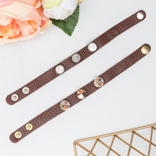 12mm Round | Three Setting Classic Leather Bracelet | One Piece