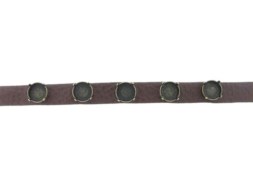Shown with Brass Ox Settings On The Textured Chestnut Leather Bracelet