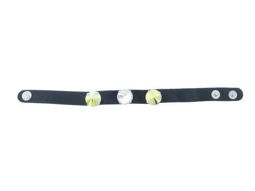 The Branded Leather Line - Classic Leather Bracelet With Three 14mm Rivoli Round Riveted Empty Settings Made In The USA
