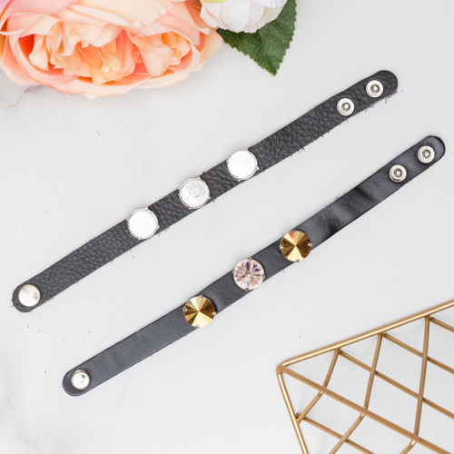 14mm Round | Three Setting Classic Leather Bracelet | One Piece