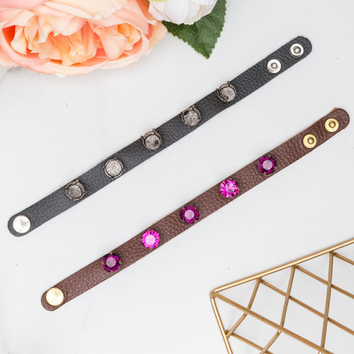 11mm   Five Setting Classic Leather Bracelet   One Piece