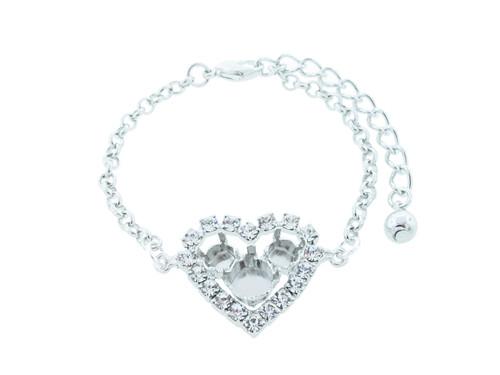 6mm & 8.5mmm | Small Crystal Rhinestone Heart Bracelet | One Piece