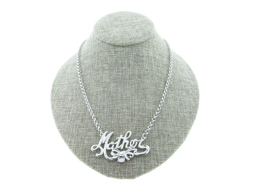 6mm (29ss) With Mother And Bow Pendant Necklace Rhodium Small Smooth Rolo Chain