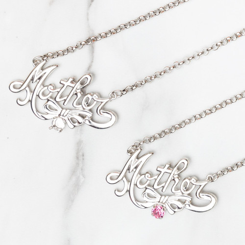 6mm | Mother & Bow Pendant Necklace | One Piece