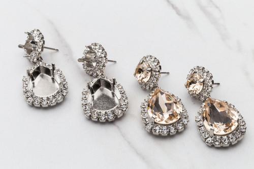8.5mm & 18mm x 13mm Pear | Crystal Halo Stud Earrings | One Pair