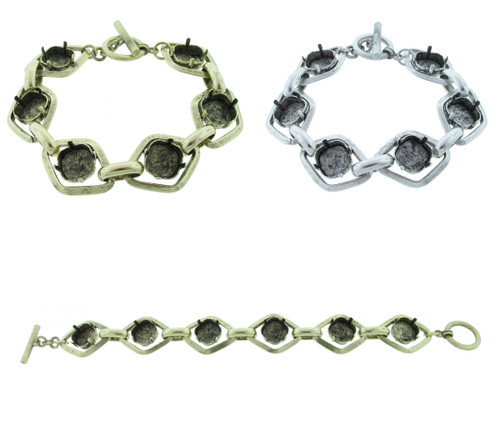Chunky Statement Bracelet With Six 12mm Square Cushion Cut Empty Settings for swarovski