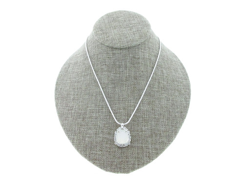 18mm x 13mm Pear With Crystal Rhinestones Empty Slider Pendant With Snake Chain In Silver Overlay
