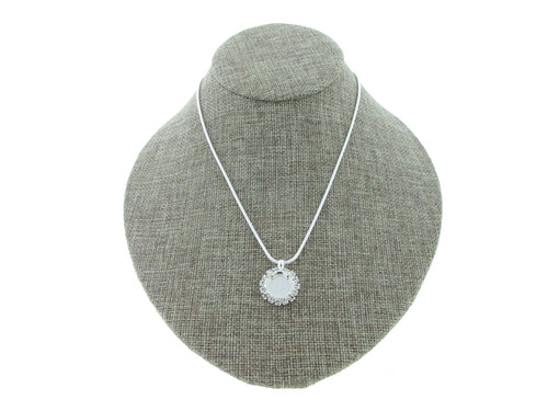12mm Square Cushion Cut With Crystal Rhinestones Empty Slider Pendant With Snake Chain In Silver Overlay