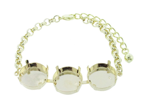 18mm Rivoli Round 3 Box Empty Bracelet in Gold Overlay