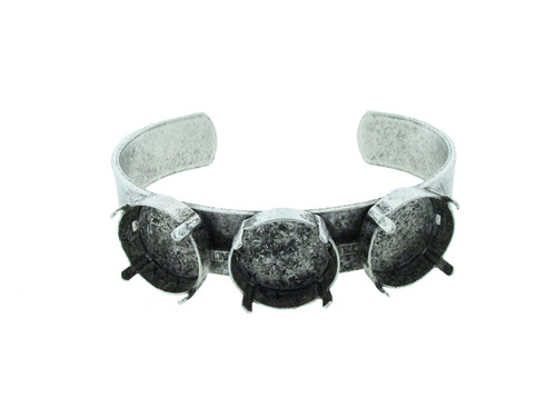 18mm Rivoli Round 3 Box Empty Cuff Bracelet in Silver Ox