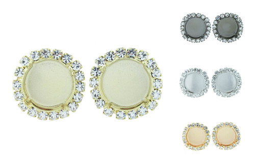 14mm Round Crystal Halo Stud Earring