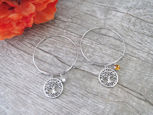 Large Tree Of Life Charm With 8.5mm (39ss) Empty Setting Expandable Bracelet