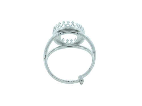 18mm x 13mm Oval Crown Open Back Adjustable Ring In Rhodium