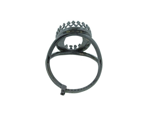 18mm x 13mm Oval Crown Open Back Adjustable Ring In Hematite