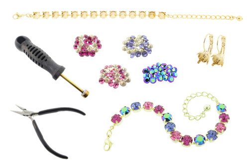 8.5mm (39ss) Empty 14 Box Tennis Bracelet & One Box Earrings Starter Kit - Choose Your Finish & Stone Color Collection